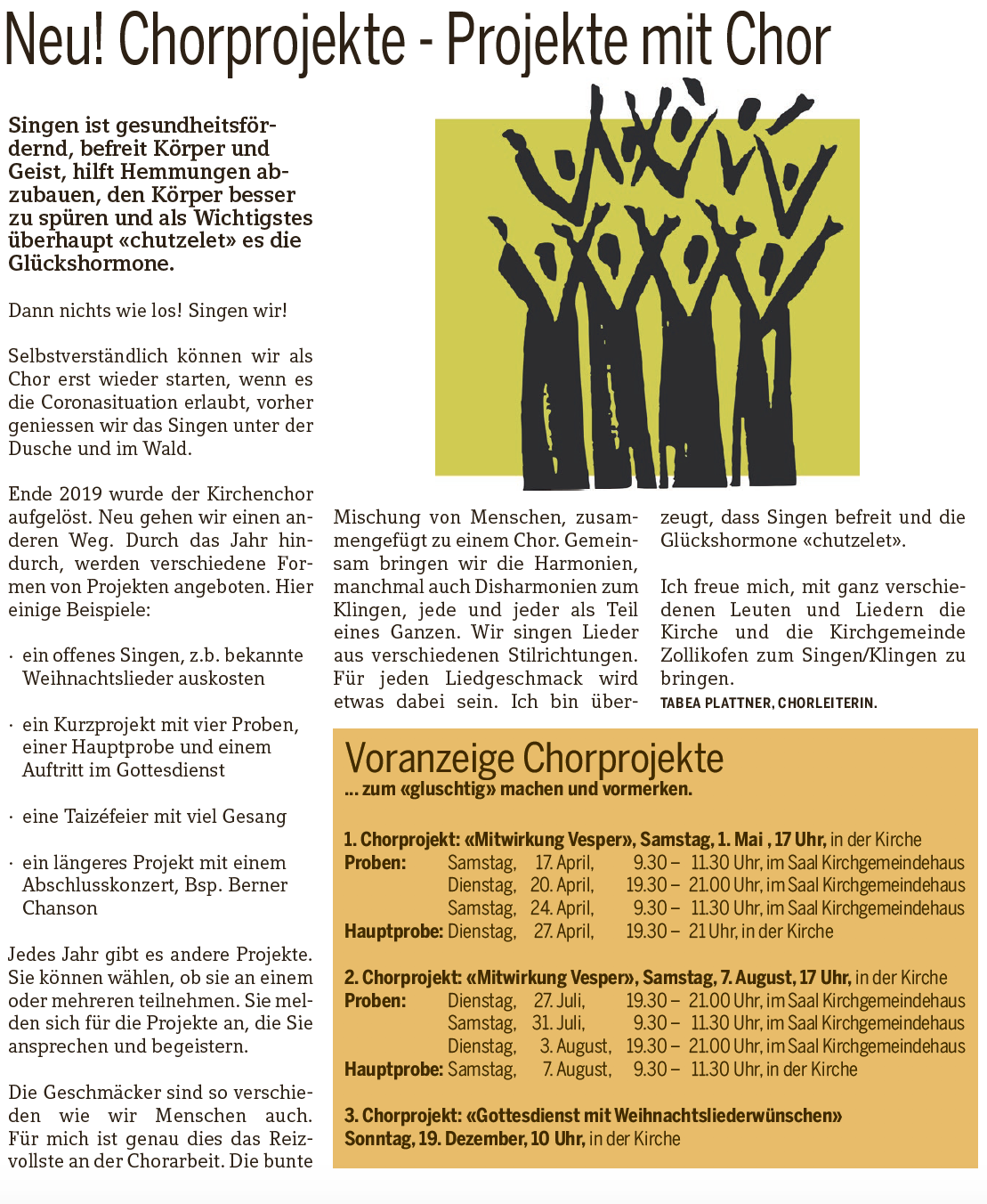Chorprojekte Zollikofen mit Tabea Plattner